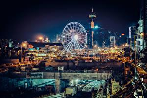 Фотография Здания Китай Гонконг Колесо обозрения Ночные Города