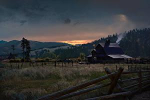 Обои Здания Вечер Поля Far Cry 5 Забор