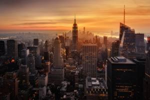 Фото Дома Вечер Рассветы и закаты Штаты Нью-Йорк Города
