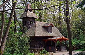Фотография Венгрия Парки Здания Деревья Деревянный Botanical garden Racratot Природа