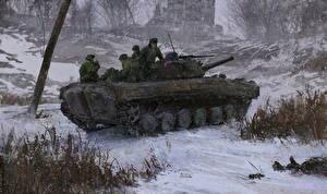 Картинки БМП Солдаты Зимние Русские Снег Армия
