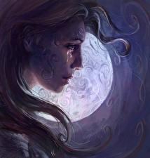 Обои Иллюстрации к книгам Луна Лицо Волосы Слезы Malazan Book of the Fallen. Apsalar, Gardens of the Moon Фэнтези Девушки