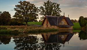 Картинки Ирландия Здания Реки Деревья Moygaddy