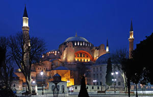 Фото Стамбул Турция Храм Вечер Уличные фонари город