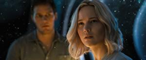 Обои Jennifer Lawrence Пассажиры 2016 Блондинка Смотрит Фильмы Девушки Знаменитости