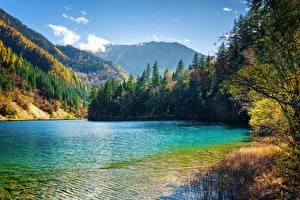 Обои Цзючжайгоу парк Китай Парки Озеро Горы Леса Пейзаж Природа