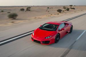 Картинки Lamborghini Красных Едущая Huracan, LP 580-2 машины