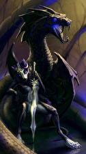 Картинка Волшебные животные Драконы Мечи Фэнтези