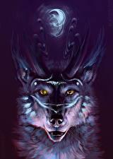 Фото Волшебные животные Голова Рога Фэнтези