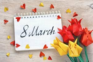 Картинки Международный женский день Тюльпаны Блокнот Оригами Цветы