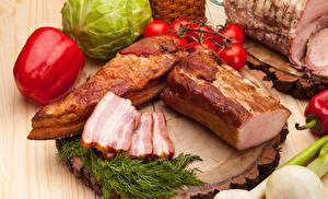 Фотография Мясные продукты Ветчина Укроп Перец Доски Еда