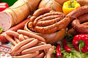 Картинки Мясные продукты Колбаса Перец Сосиска