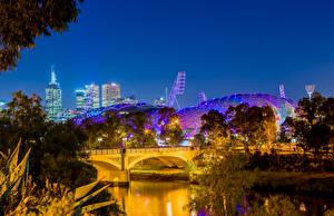 Картинка Мельбурн Австралия Дома Речка Мосты Вечер Деревья