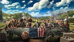 Картинка Мужчины Far Cry 5 Стол Флаг Игры