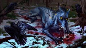 Обои Чудовище Вороны Кровь Фэнтези
