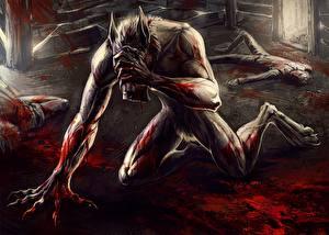 Обои Монстры Ликантроп Кровь Мертвец Фантастика
