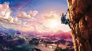 Фотографии Альпинизм Фантастический мир The Legend of Zelda Небо Скалы Альпинист Breath Of The Wild Игры Фэнтези