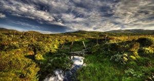 Картинки Норвегия Пейзаж Небо HDRI Ручей Трава Облака Einunndalen