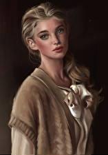 Картинки Рисованные Шатенка Красивые Девушки