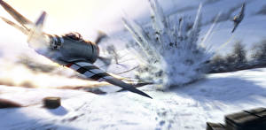 Фото Рисованные Самолеты Истребители Взрывы Бомбардировщик Американский Republic P-47 Thunderbolt