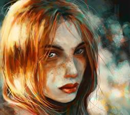 Картинки Рисованные Рыжая Взгляд Лицо Волосы