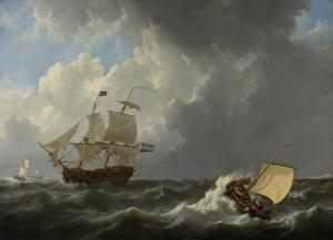 Фото Картина Корабли Парусные Johannes Christian Shotel, Ships on a Stormy Sea