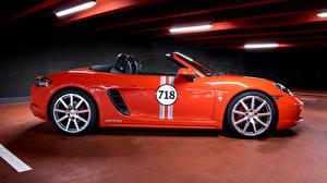 Фото Порше Оранжевый Металлик Сбоку Родстер 2017 MTM 718 Boxster Автомобили