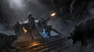 Фотографии Rise of the Tomb Raider Лучники Волк Лара Крофт Лестница 20 Year Celebration