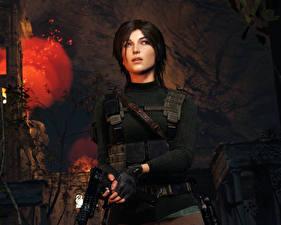 Картинки Rise of the Tomb Raider Пистолеты Лара Крофт 3D_Графика Девушки