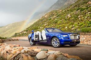 Обои Rolls-Royce Кабриолет Синий Dawn Автомобили