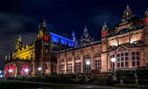 Фотографии Шотландия Дома Ночные Уличные фонари Дизайн Музей Kelvingrove Art Gallery Museum Glasgow