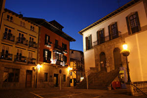 Фотография Испания Дома Ночью Лестница Уличные фонари Улица Lekeitio Basque Country Города