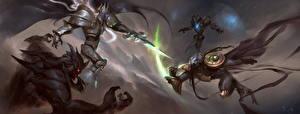 Фотографии StarCraft World of WarCraft Heroes of the Storm Сражения Воители Arthas, Zeratul Фэнтези