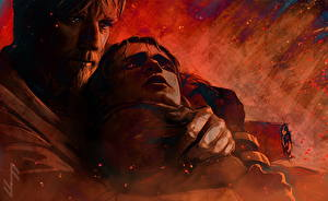Обои для рабочего стола Звездные войны Эпизод 3 - Месть Ситхов Мужчина 2 Obi-Wan helps Anakin on Mustafar Фильмы