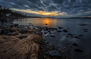 Фото Швеция Побережье Вечер Камни Varmdo
