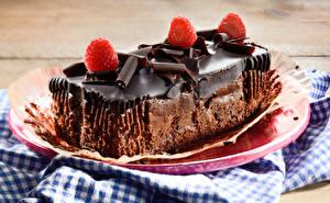 Фотографии Сладости Пирожное Шоколад Малина Тарелка Еда
