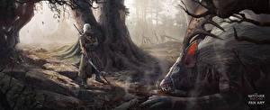 Картинка The Witcher 3: Wild Hunt Воины Геральт из Ривии Монстры Мечи Фэнтези