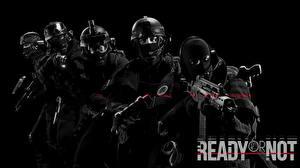 Картинка Tom Clancy's Rainbow Six: Siege Осада Солдаты Автоматы Черный фон Ready Or Not