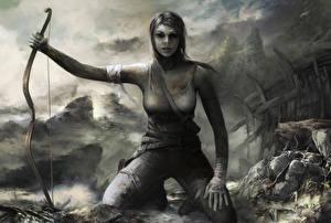 Фото Tomb Raider 2013 Лара Крофт Лук оружие Черно белое Девушки