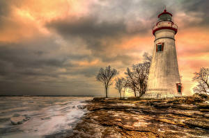 Картинки Штаты Берег Маяки Рассветы и закаты Небо HDRI Marblehead Lighthouse Massachusetts