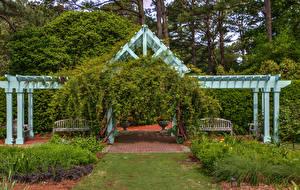 Фотографии США Парк Кусты Скамья Norfolk Botanical Garden Virginia Природа
