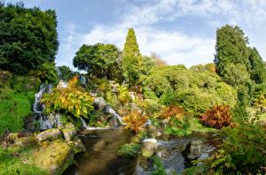 Картинка Великобритания Парки Водопады Камни Деревья Кусты Sheffield Park Pulham Falls