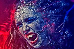 Картинка Вампиры Клыки Крик Голова Зубы Фантастика