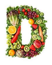 Фото Овощи Фрукты Виноград Белым фоном Дизайна D Еда