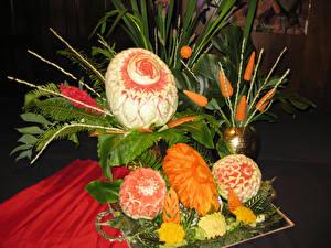Фотография Овощи Фрукты Арбузы Дизайн Листва Пища