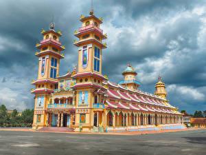 Обои Вьетнам Храмы Небо Tay Ninh Holy See Города