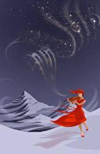 Фотография Скрипки Зимние Снег Фантастика Девушки