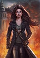 Картинки Воины Пламя Мечи Девушки
