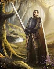 Картинки Воители Мечи Броня Game of Thrones, Ser Arthur Dayne Игры Фэнтези