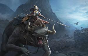 Фотографии Воины Волшебные животные Рога Копья